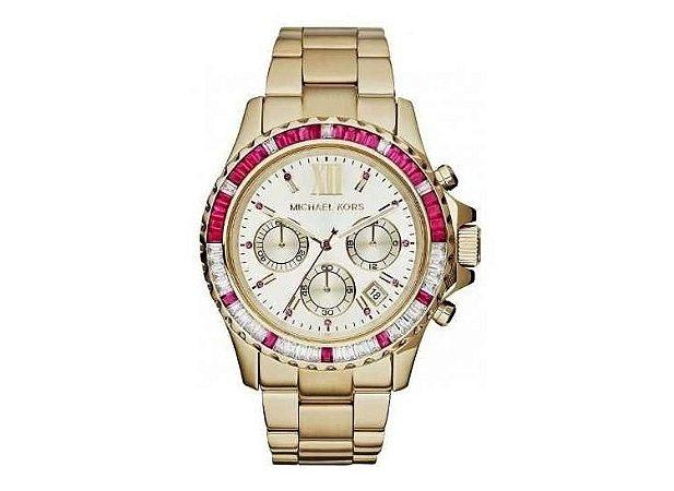 ffb3dd089dc Relógio Michael Kors Mk5871 Rosa Gold com Pedras de Cristal - Dalu ...