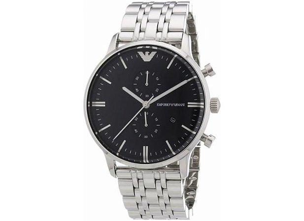 ea83e374edad1 Relógio Emporio Armani Ar0389 Prata e Preto - Dalu Importados