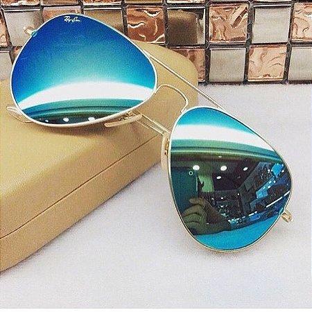 3f2ca4dbcc5e2 Rayban aviador espelhado azul - Dalu Importados