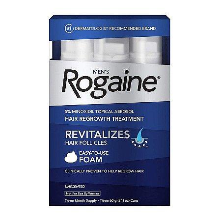Rogaine Tratamento Masculino Minoxidil 5% Espuma - 3 Meses