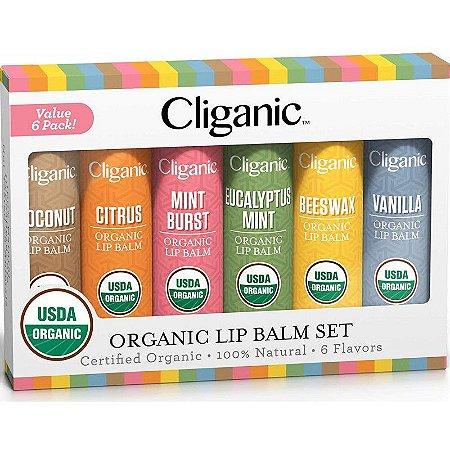 Cliganic USDA Organic Lip Balm Set - 6 Sabores