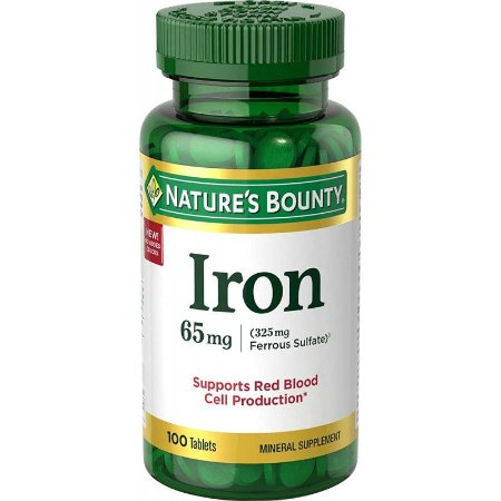 Nature's Bount Iron 65 mg - 100 Tablets