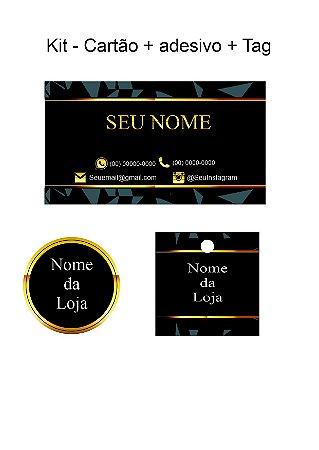Kit nova empresa - Adesivo + Cartão + Tag - 100 de cada
