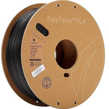 Filamento PLA Charcoal Black 1,75mm 1Kg Polyterra