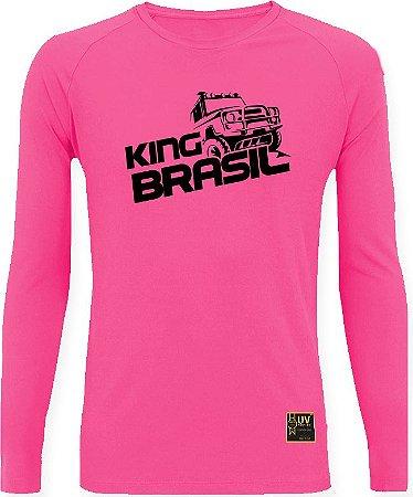 CAMISETA STYLE KING BRASIL - OFF ROAD ROSA/PRETO