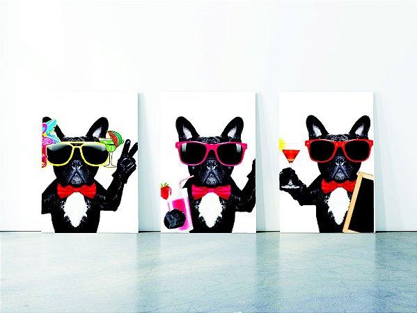 Quadro em Canvas Verão cokctail bulldog Francês
