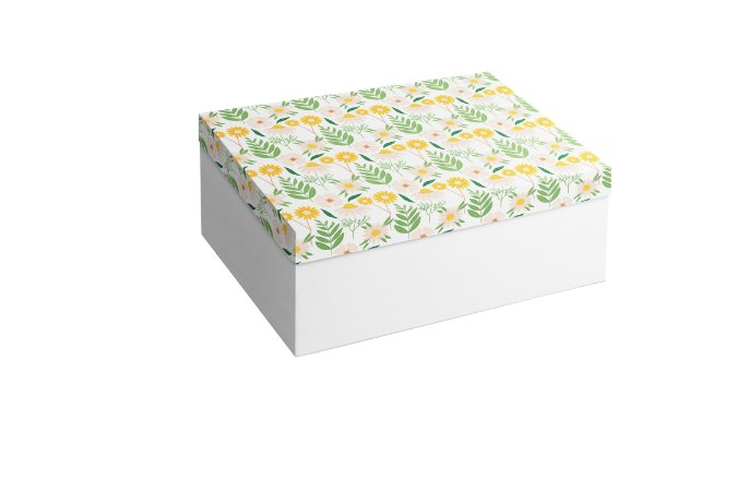 Caixa Retangular Flores e Folhas