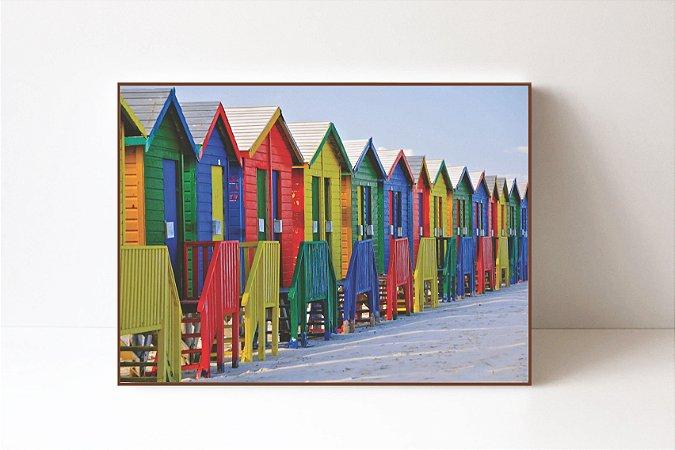 Quadro em Canvas Casas Coloridas Muizenberg Beach
