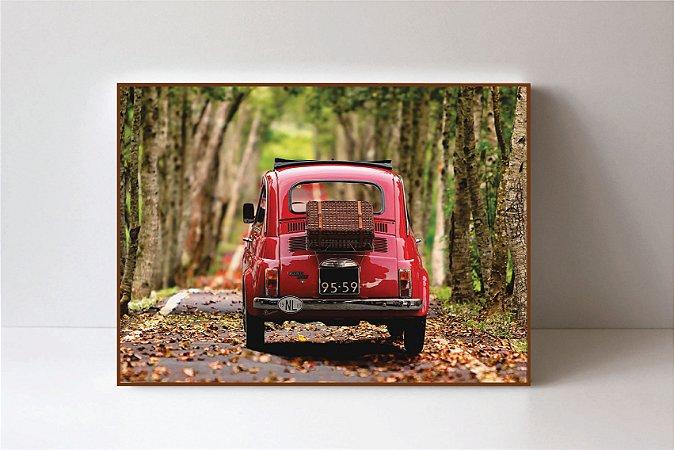Quadro em Canvas Fiat Cinquecento Vermelho