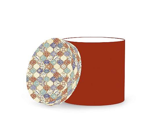 Caixa Redonda Estampada Azulejo Marrom