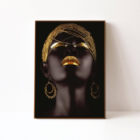 Quadro em Canvas Brinco e Maquiagem Dourada