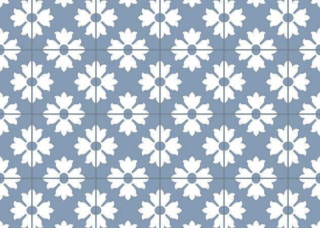 Jogo Americano Abstrato Fundo Azul Flor Branca