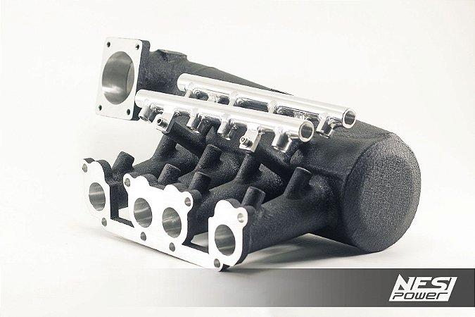 Coletor DualPlenum VW AP 8v Fluxo Cruzado borboleta p/ trás - Preto Texturizado