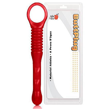 Plug Anal Rod corpo estreito e sinuoso 19cm cor vermelho