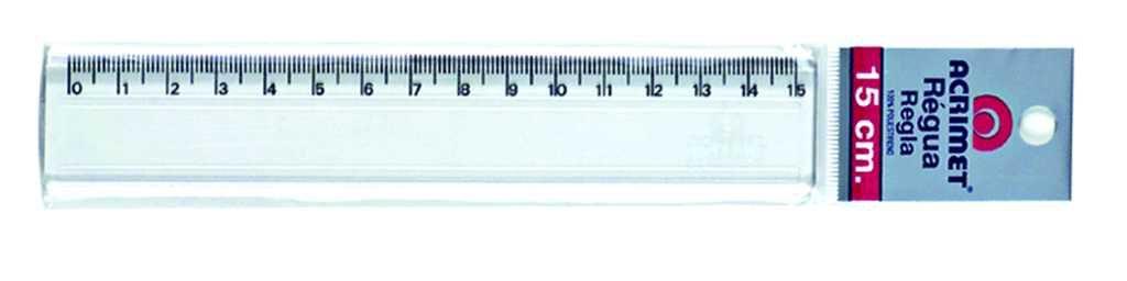 Regua Acrimet 511 plastica 15 cm cor cristal