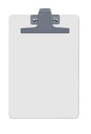 Prancheta Acrimet 125.0 mdf branco com prendedor metalico na cor prata meio oficio pequena a5