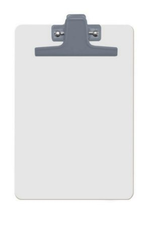 Prancheta Acrimet 126 mdf branco com prendedor metalico na cor azul oficio a4