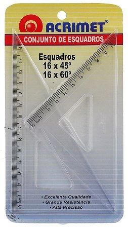 Conjunto Acrimet 566 de esquadro escolar de 30 e 60 graus com 16 centimetros