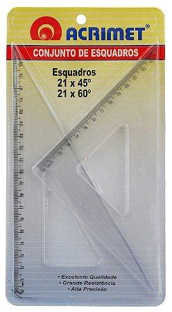 Conjunto Acrimet 567 de esquadro escolar de 45 e 60 graus com 21 cm de comprimento