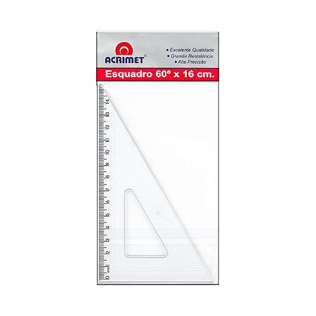 Esquadro Acrimet 521 escolar de 30 x 60 graus com 16 cm de comprimento