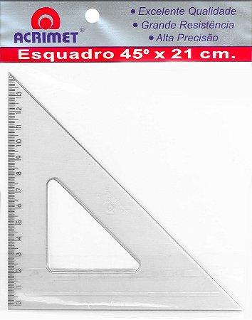 Esquadro Acrimet 532 escolar de 45 graus com 21 cm de comprimento