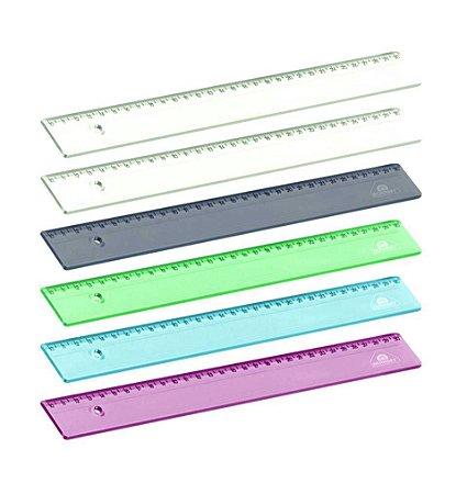 Régua Acrimet 965 escolar 30cm pt com 6 un transparente