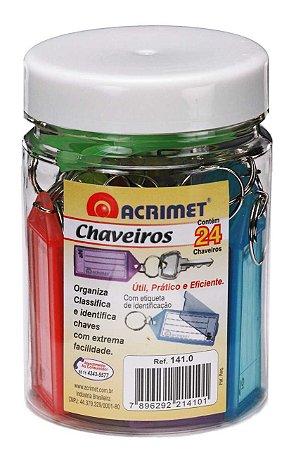 Chaveiro Acrimet 141 com etiqueta de identificação pote com 24 chaveiros sortidos