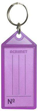 Chaveiro Acrimet 140 plastico com etiqueta de identificação roxo