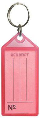 Chaveiro Acrimet 140 plastico com etiqueta de identificação rosa