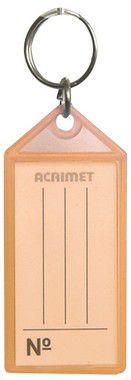 Chaveiro Acrimet 140 plastico com etiqueta de identificação cenoura neon