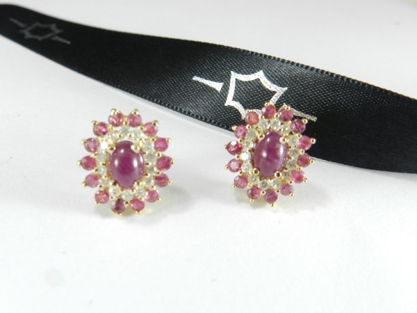Brincos Arpoador Rubis e Diamantes