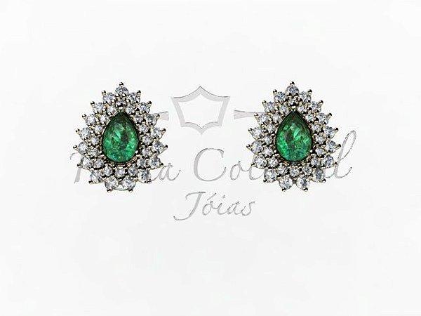 Brincos Sophia Esmeralda e Diamantes