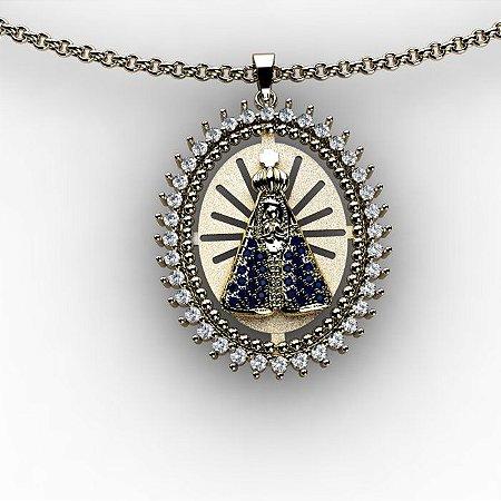 Pingente Nossa Senhora Safiras e Diamantes.