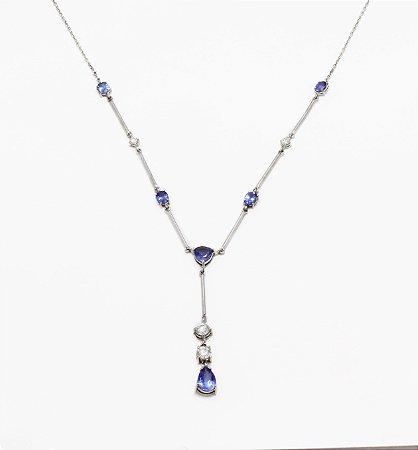 Gargantilha Tanzanita com Diamantes