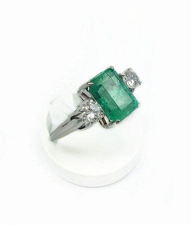 Anel De Esmeralda Colombiana E Diamantes
