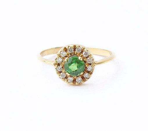 Anel de Tsavorita e Diamantes