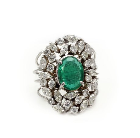 Anel de Esmeralda E Diamantes