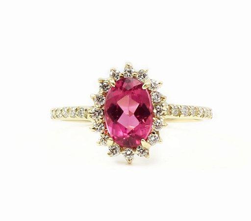 Anel Rubelita e Diamantes