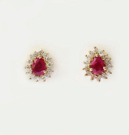 Par de Brincos De Rubi Burma e Diamantes