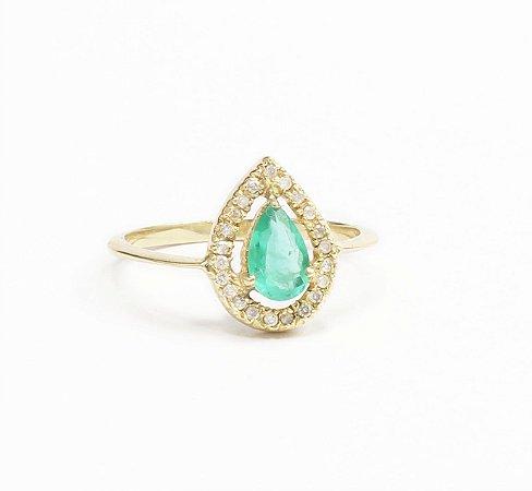 Anel Gota Esmeralda e Diamantes