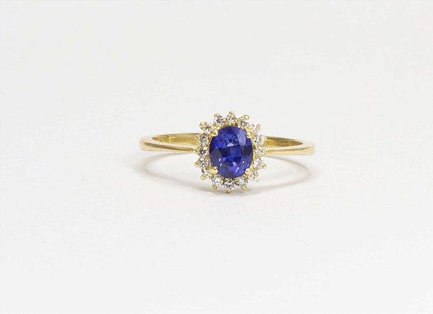 Anel Safira Ceilão e Diamantes