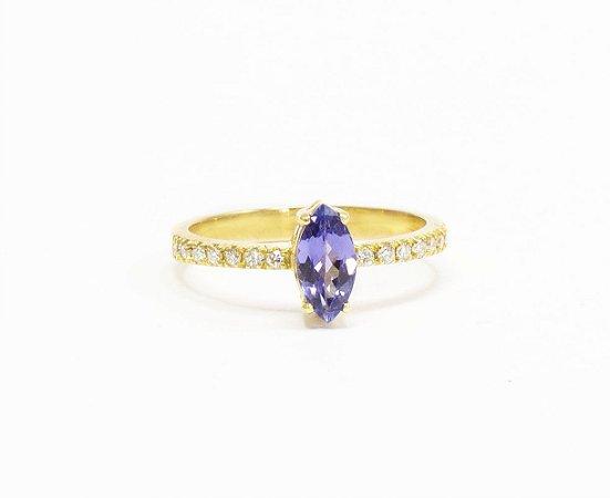 Tanzanita Navete e Diamantes
