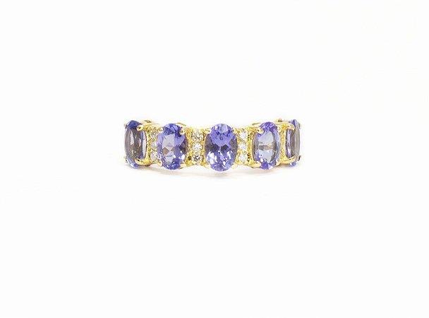 Meia Aliança Tanzanitas com Diamantes