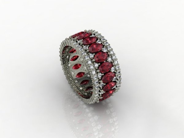Anel Imperial Rubi e Diamantes