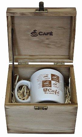 Kit Café - Embalagem de Madeira Personalizada Com 1 Caneca De Porcelana 285ml