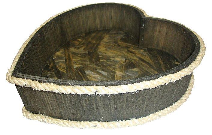Cachepot de Madeira Coração - Grátis a palha para acomodar os seus produtos!
