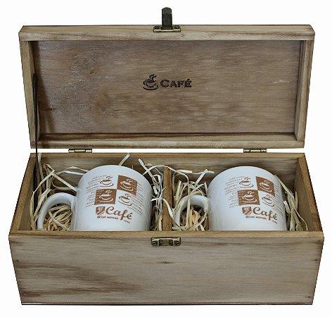 Kit Café - Embalagem De Madeira Personalizada Com 2 Canecas De Porcelana 285ml