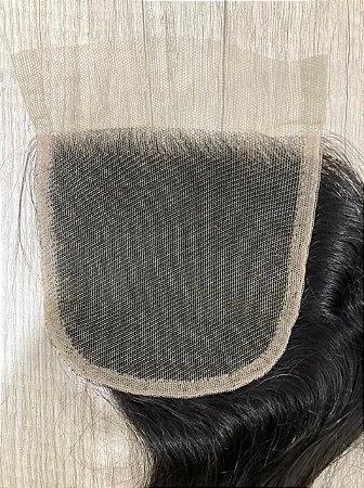 Closure de Cabelo Humano - 10x10 - 40cm de comprimento - #1B castanho escuro
