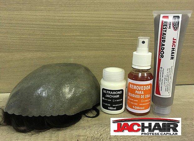 Prótese capilar + cola UltraBond + Removedor + Creme restaurador