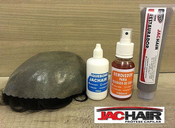 Prótese capilar + Cola Aquibond + Removedor + Creme restaurador